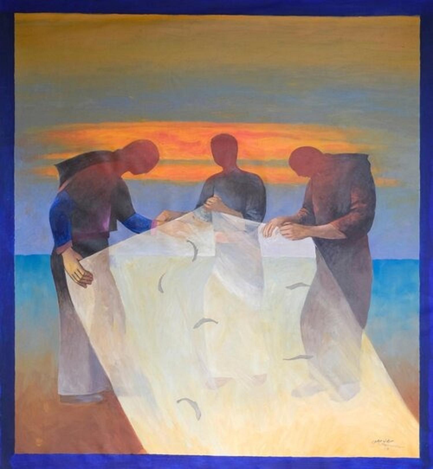 (عمل للفنان الفلسطيني سليمان منصور، من المعرض)