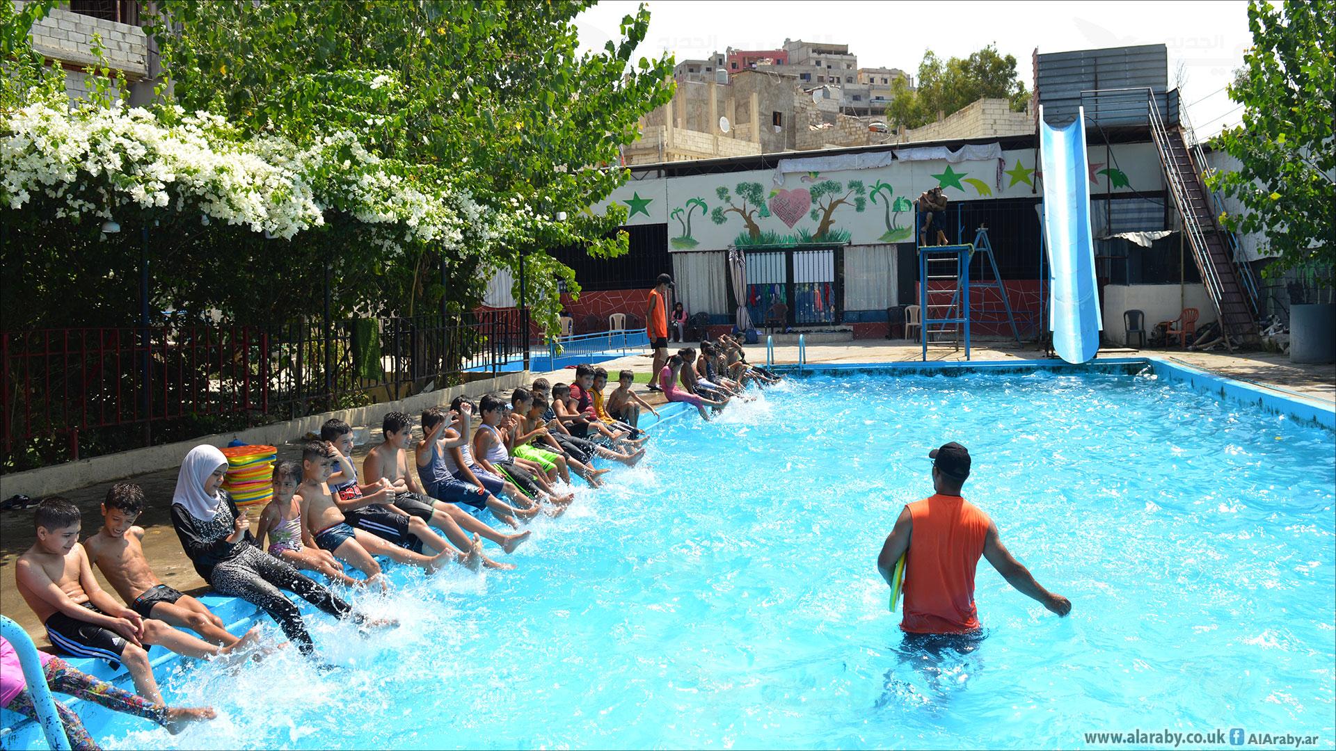تدريب سباحة بمخيمات اللاجئين الفلسطينيين في لبنان 2 (العربي الجديد)