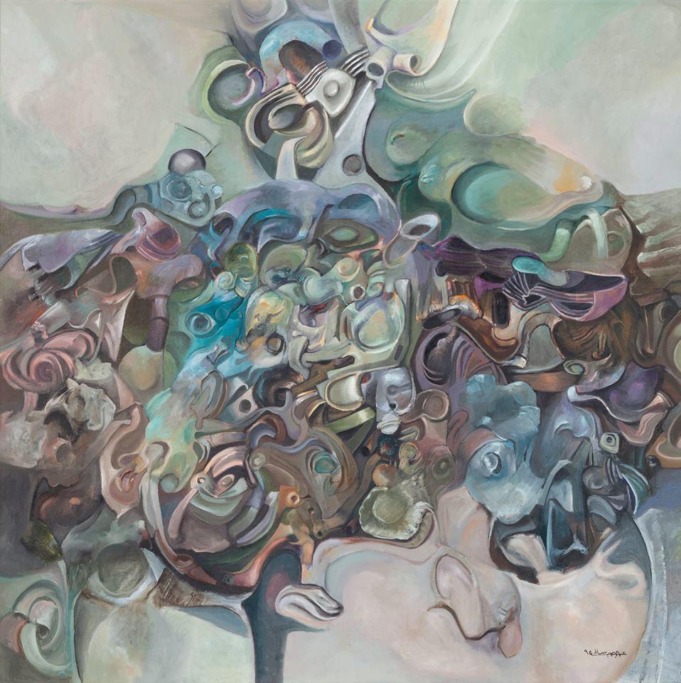 من أعمال عبد الله سالم في المعرض