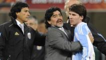 Argentina's coach Diego Maradona hugs Argentina's striker Lionel Messi after the 2010 World Cup quarter final Argentina vs Germany on July 3, 2010 at Green Point stadium in Cape Town. Germany won 4-0. NO PUSH TO MOBILE / MOBILE USE SOLELY WITHIN EDITORIAL ARTICLE - AFP PHOTO / JAVIER SORIANO (Photo credit should read JAVIER SORIANO/AFP via Getty Images)