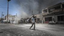 قصف النظام السوري في إدلب-محمد سعيد/الأناضول
