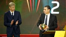 French coach Arsene Wenger (L) presents the Goal of the Year award to Kheiredine Zetchi, president of the Algerian Football Federation, during the 2019 CAF Awards in the Egyptian resort town of Hurghada on January 7, 2020. - Riyad Mahrez's free kick in the 2019 African Cup of Nations semi-finals was named as Goal of the Year during the 2019 CAF Awards. (Photo by Khaled DESOUKI / AFP) (Photo by KHALED DESOUKI/AFP via Getty Images)