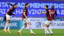 MILAN, ITALY - JANUARY 26: (BILD ZEITUNG OUT) Zlatan Ibrahimovic of AC Milan celebrates after scoring his team's first goal during the Coppa Italia match between FC Internazionale and AC Milan at Stadio Giuseppe Meazza on January 26, 2021 in Milan, Italy. Sporting stadiums around Italy remain under strict restrictions due to the Coronavirus Pandemic as Government social distancing laws prohibit fans inside venues resulting in games being played behind closed doors. (Photo by Sportinfoto/DeFodi Images via Ge