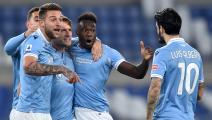 Ciro Immobile of SS Lazio (2L) celebrates with team mates...