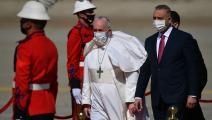 البابا فرنسيس ورئيس الوزراء العراقي مصطفى الكاظمي (فينسينزو بينتو/فرانس برس)