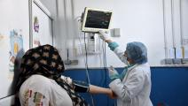 A medical staff from the Emergency Department of Charle... TUNIS, TUNISIA - 2020/05/11: A medical staff from the Emergency Department of Charle Nicolle Hospital checks the blood pressure of a patient during the coronavirus crisis. Tunisia recorded zero cases on May 10, 2020 so there remains a total of 1,032 infected cases and 45 deaths and 700 recovered from covid-19 disease. (Photo by Jdidi Wassim/SOPA Images/LightRocket via Getty Images)
