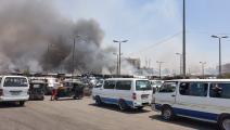 حريق في سوق شعبي بمنطقة حلوان في القاهرة (فيسبوك)