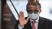 """SWITZERLAND-VIRUS-HEALTH-FOUNTAIN World Health Organization (WHO) Director-General Tedros Adhanom Ghebreyesus wears a protective fave mask after leaving a ceremony for the restarting of Geneva's landmark fountain, known as """"Jet d'Eau"""" following the COVID-19 outbreak, caused by the novel coronavirus on June 11, 2020 in Geneva. - The fountain was switched off on March 20, 2020, as the Swiss government further tightened measures against COVID-19. (Photo by Fabrice COFFRINI / AFP) (Photo by FABRICE COFFRINI/AFP"""
