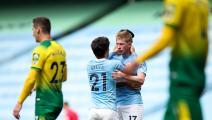 MANCHESTER, ENGLAND - JULY 26: Kevin De Bruyne of Manchester City celebrates after scoring a goal to make it 2-0 during the Premier League match between Manchester City and Norwich City at Etihad Stadium on July 26, 2020 in Manchester, United Kingdom. (Photo by Robbie Jay Barratt - AMA/Getty Images)