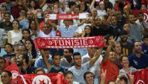 Tunisian fans react during the World Cup 2018 Africa qualifying football match between Tunisia and DR Congo at the Stade Olympique in Rades on September 1, 2017. / AFP PHOTO / FETHI BELAID (Photo credit should read FETHI BELAID/AFP via Getty Images)