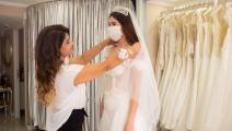 عروس ترتدي كمامة في تركيا (ياسين آكغول/ فرانس برس)