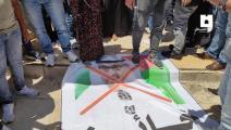 فلسطينيون يدوسون على صور ولي عهد أبو ظبي (العربي الجديد)