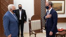 محمود عباس ودومينيك راب