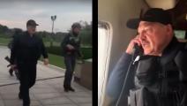 لوكاشينكو بلباس الميدان حاملاً بندقيته في مواجهة المتظاهرين (يوتيوب)