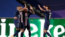 Paris Saint-Germain's Argentine midfielder Angel Di Maria (2nd L) celebrates with his teammates after scoring his team's second goalduring the UEFA Champions League semi-final football match between Leipzig and Paris Saint-Germain at the Luz stadium in Lisbon on August 18, 2020. (Photo by Manu Fernandez / POOL / AFP) (Photo by MANU FERNANDEZ/POOL/AFP via Getty Images)