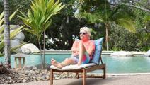 الثري البريطاني ريتشارد برانسون في جزيرته الخاصة بالكاريبي