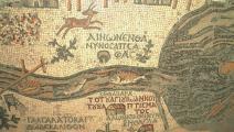 خريطة مادبا يظهر فيها نهر الأردن (ويكيبيديا)