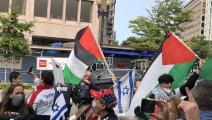 فلسطينيون يتظاهرون أمام البيت الأبيض (تويتر)