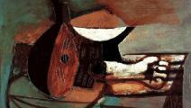 """(لوحة """"مندولين وإناء فاكهة وأذرع رخامية، من المعرض)"""