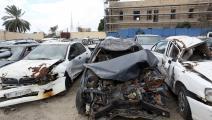 دُمّرت السيارة نتيجة حادث مروري (محمود تركية/ فرانس برس)