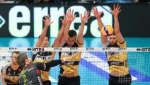 KOVAR Jiri, CHRISTENSON Micah, MAZZONE Daniele and BEDNORZ Bartosz during the Italian Men's Volleyball League match between Leo Shoes Modena and Cucine Lube Civitanova at Palapanini on February 5, 2020 in Modena, Italy. (Photo by Emmanuele Ciancaglini/NurPhoto via Getty Images)
