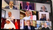 الشيخ خليفة بن جاسم والشرقي خلال مشاركتهما بالاجتماع (غرفة قطر)