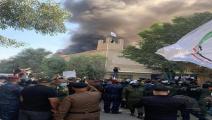 إحراق مقر حزب برزاني في بغداد-تويتر
