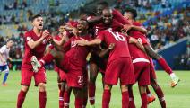 RIO DE JANEIRO, BRAZIL - JUNE 16: Boualem Khoukhi of Qatar celebrates with teammates after scoring the second goal of his team during the match against Paraguay for the Copa America 2019 at Maracana Stadium on June 16, 2019 in Rio de Janeiro, Brazil. (Photo by Alexandre Schneider/Getty Images)