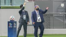 Match officials calls players back to the dressing rooms ahead of the AFC Champions League group B match between Saudi's Al-Hilal and UAE's Shabab Al-Ahli on September 23, 2020, at the Khalifa International Stadium in the Qatari capital Doha. - Match officials called the match off after the Saudi team failed to field the minimum required 13 players. Al-Hilal managed only 11 players including 3 goalkeepers. (Photo by KARIM JAAFAR / AFP) (Photo by KARIM JAAFAR/AFP via Getty Images)