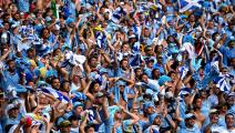 NATAL, BRAZIL - JUNE 24: Uruguay fans celebrate their team's first goal during the 2014 FIFA World Cup Brazil Group D match between Italy and Uruguay at Estadio das Dunas on June 24, 2014 in Natal, Brazil. (Photo by Shaun Botterill - FIFA/FIFA via Getty Images)