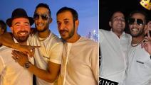 محمد رمضان مع إسرائيليين في دبي (تويتر)