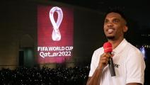 YAOUNDE, CAMEROON - MARCH 18: FIFA Legend Samuel Eto'o gives a speach during his visit in school, event organized by FIFA Foundation-supported NGO, Sport and Cooperation Network, on March 18, 2019 in Yaounde, Cameroon. (Photo by Maja Hitij - FIFA/FIFA via Getty Images)