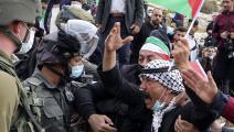 احتجاجات فلسطينية على استمرار سياسة التوسع الاستيطاني شرق نابلس، 20/11/2020 (جعفر اشتية/فرانس برس)