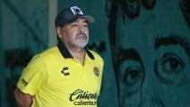 ZACATEPEC, MEXICO - OCTOBER 06: Diego Armando Maradona, coach of Dorados de Sinaloa looks on during the 11th round match between Zacatepec and Dorados as part of the Torneo Apertura 2018 Ascenso MX at Agustin 'Coruco Diaz Stadium on October 06, 2018 in Zacatepec, Mexico. (Photo by Hector Vivas/Getty Images)