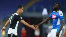 Cristiano Ronaldo of Juventus and Kalidou Koulibaly of Napoli shaking hands during the Coca Cola Italian Cup Final football match SSC Napoli v Fc Juventus at the Olimpico Stadium in Rome, Italy on June 17, 2020 (Photo by Matteo Ciambelli/NurPhoto via Getty Images)