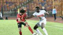 Zamalek's player Kasongo (R) in action with Ahly's player Mohamed Hany during the first derby between Zamalek and Al-Ahly after the return of the Egyptian League from a suspension due to the Corona virus, at Cairo International Stadium, in Cairo, Egypt on August 22, 2020. (Photo by Islam Safwat/NurPhoto via Getty Images)