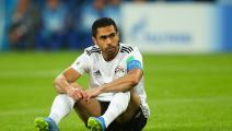 SAINT PETERSBURG, RUSSIA - JUNE 19: Ahmed Fathi of Egypt looks dejected after scoring an own goal during the 2018 FIFA World Cup Russia group A match between Russia and Egypt at Saint Petersburg Stadium on June 19, 2018 in Saint Petersburg, Russia. (Photo by Robbie Jay Barratt - AMA/Getty Images)