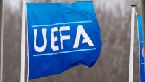 DUIVENDRECHT, NETHERLANDS - DECEMBER 10: (BILD ZEITUNG OUT) UEFA flag is seen during the UEFA Youth League match between Ajax Amsterdam U19 and FC Valencia U19 on December 10, 2019 in Duivendrecht, Netherlands. (Photo by TF-Images/Getty Images)