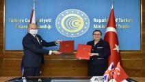 مراسم توقيع اتفاقية التجارة الحرة بين تركيا وبريطانيا/ الأناضول