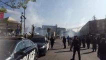 قوات الأمن باقليم كردستان العراق يستخدمون الغاز المسيل للدموع لتفريق المتظاهرين بالسليمانية (تويتر)