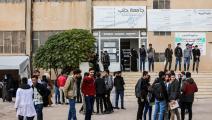 """طلاب من """"جامعة حلب الحرة"""" أمام حرم أعزاز (بكر القاسم/ فرانس برس)"""