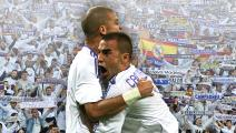 Italian Real Madrid's Fabio Cannavaro (R) is congratuled by his teammate Brazilian Pepe (L) after his goal during the final round of the Spanish Supercup against Real Madrid at the Santiago Bernabeu stadium 19 August 2007. AFP PHOTO / PHILIPPE DESMAZES (Photo credit should read PHILIPPE DESMAZES/AFP via Getty Images)