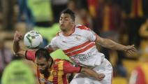 DOHA, QATAR - FEBRUARY 14: Mostafa Mohamed (R) of Zamalek vies for the ball during the CAF Super Cup Final between Egypt's Zamalek and Tunisia's Esperance at Thani Bin Jassim Stadium in Doha, Qatar on February 14, 2020. (Photo by Mohammed Dabbous/Anadolu Agency via Getty Images)