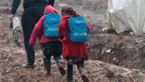 تلميذتان في شمال سورية (رامي السيد/ فرانس برس)