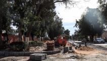 قطع أشجار معمرة وحفريات في منطقة هليوبوليس (محمد الشاهد/فرانس برس)