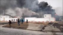 حريق في معمل إسفلت في تونس (فيسبوك)