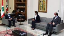 السفيرة الفرنسية والرئيس اللبناني (تويتر)