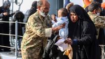 عملية إنقاذ مهاجرين في الخمس ليبيا (فرانس برس)