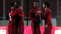 Qatar's players celebrate after the FIFA World Cup Qatar 2022 friendly preparation football match Qatar v Luxembourg in Debrecen, on March 24, 2021. (Photo by Peter Kohalmi / AFP) (Photo by PETER KOHALMI/AFP via Getty Images)