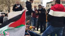 من تجمع أسرى محررون أمام مجلس الوزراء في مدينة رام الله (محمد غفري)